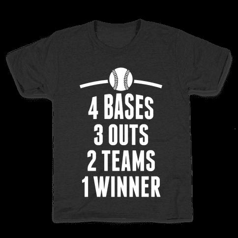 4 Bases, 3 Outs, 2 Teams, 1 Winner (Baseball) Kids T-Shirt