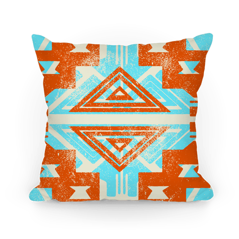Orange and Teal Aztec Pattern Pillow
