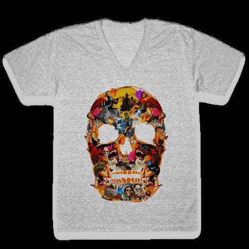 Vintage Skull V-Neck Tee Shirt