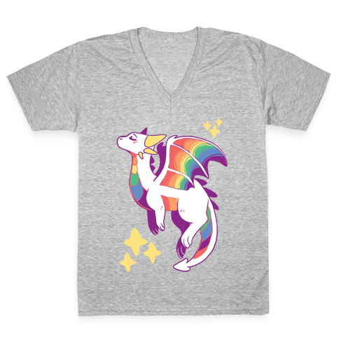 Gay Pride Dragon V-Neck Tee Shirt