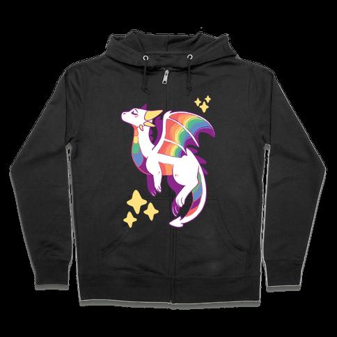 Gay Pride Dragon Zip Hoodie