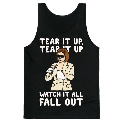 Tear It Up Tear It Up Nancy Pelosi Parody White Print Tank Top