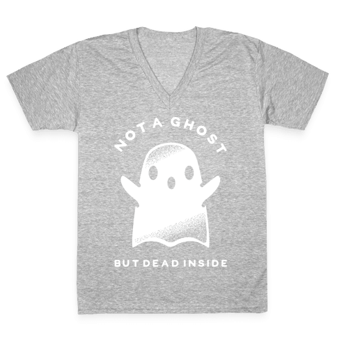 Not A Ghost White V-Neck Tee Shirt