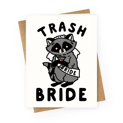 Trash Bride Raccoon Bachelorette Party Greeting Card