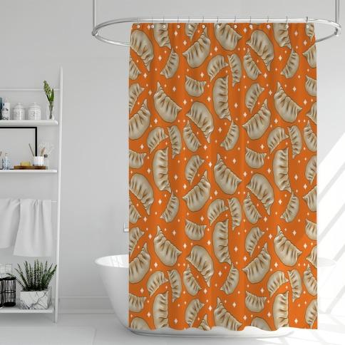 Dumplings Pattern Orange Shower Curtain