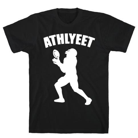 Athlyeet Football White Print T-Shirt