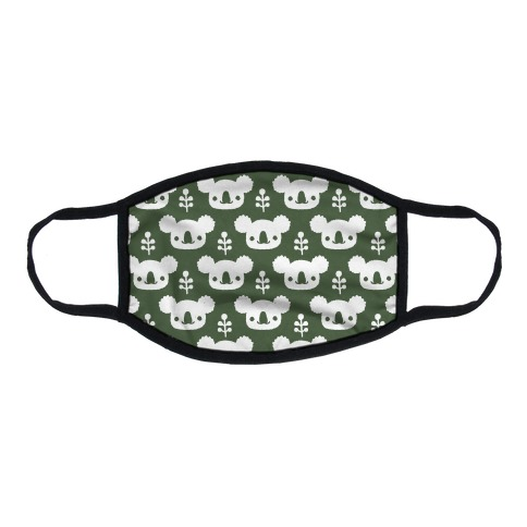 Koala and Eucalyptus Boho Pattern Green Flat Face Mask