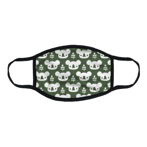 Koala and Eucalyptus Boho Pattern Green Flat Face Mask