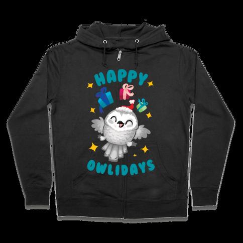 Happy Owlidays! Zip Hoodie