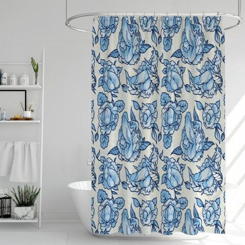 Floral Penis Pattern Blue Shower Curtain
