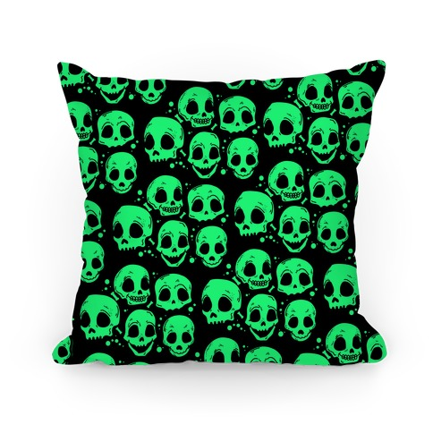 Neon Green Skulls Pattern Pillow