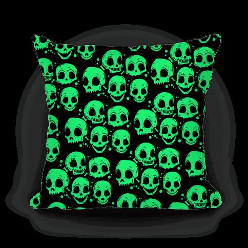 Neon Green Skulls Pattern Pillow
