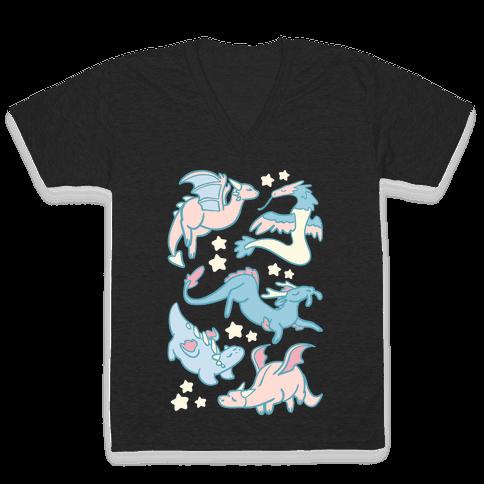 Dreamy Dragons V-Neck Tee Shirt