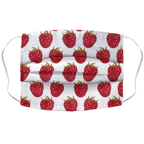 Raspberry Pattern White Accordion Face Mask