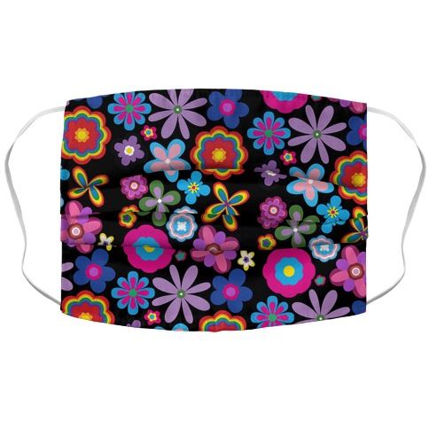 Hippie Pride Flower Pattern Accordion Face Mask