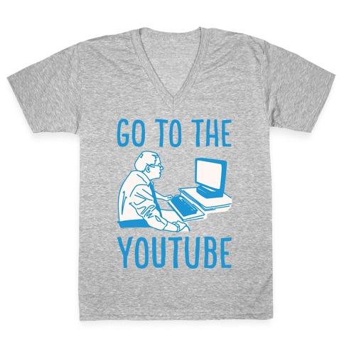 Go To The Youtube White Print V-Neck Tee Shirt