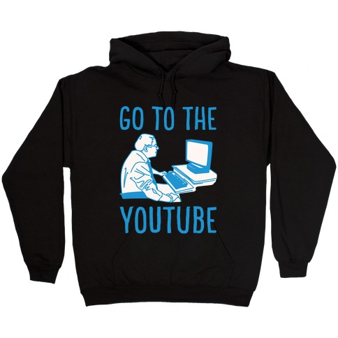 Go To The Youtube White Print Hooded Sweatshirt