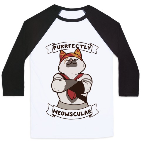 Purrfectly Meowscular Baseball Tee
