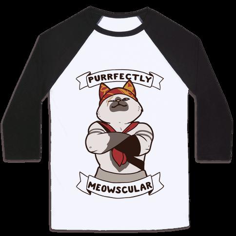 Purrfectly Meowscular  Baseball Tee
