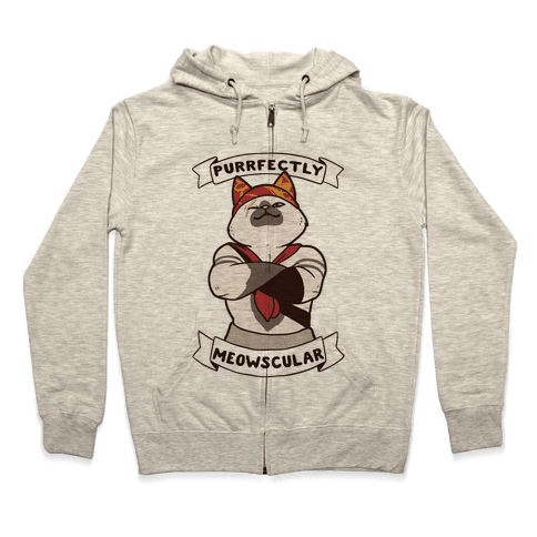 Purrfectly Meowscular  Zip Hoodie