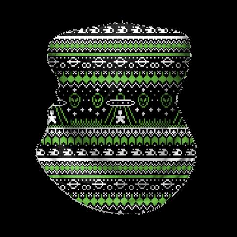 Ugly Alien Christmas Sweater Neck Gaiter