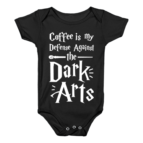 Coffee Is My Defense Against The Dark Arts Baby Onesy