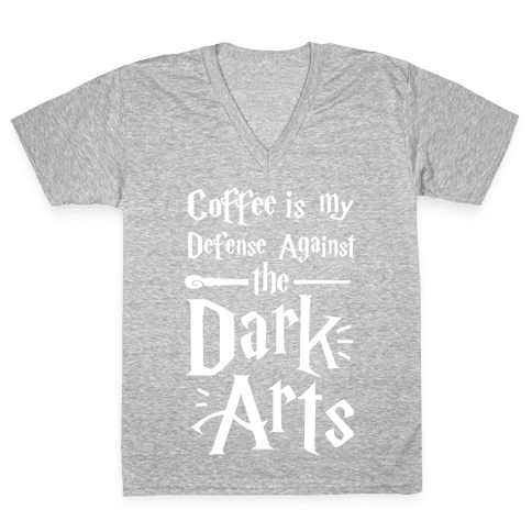 Coffee Is My Defense Against The Dark Arts V-Neck Tee Shirt