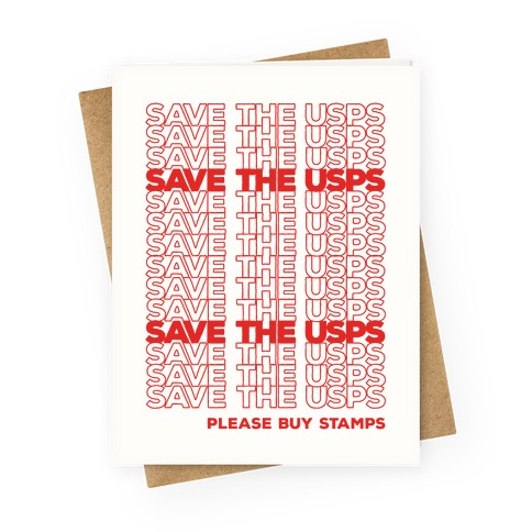 Save The USPS Thank You Bag Style Greeting Card