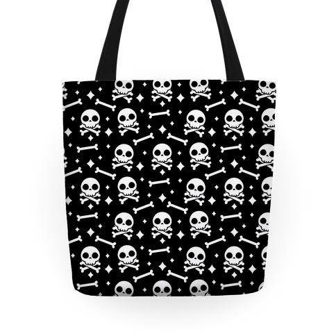 Cute Skull N' Bones Pattern (Black) Tote