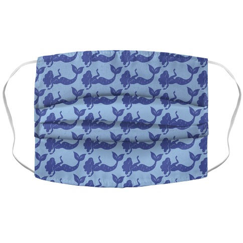 Blue Mermaid Pattern Accordion Face Mask