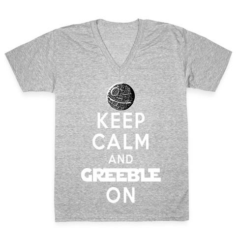 Keep Calm and Greeble On V-Neck Tee Shirt