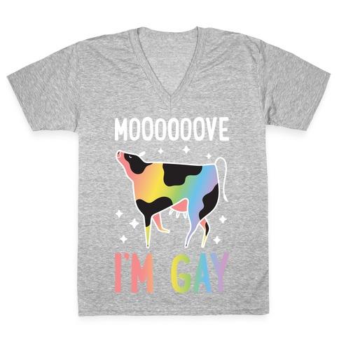 Move I'm Gay Cow V-Neck Tee Shirt