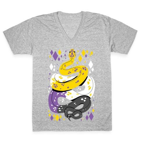 Pride Snakes: Non-binary V-Neck Tee Shirt