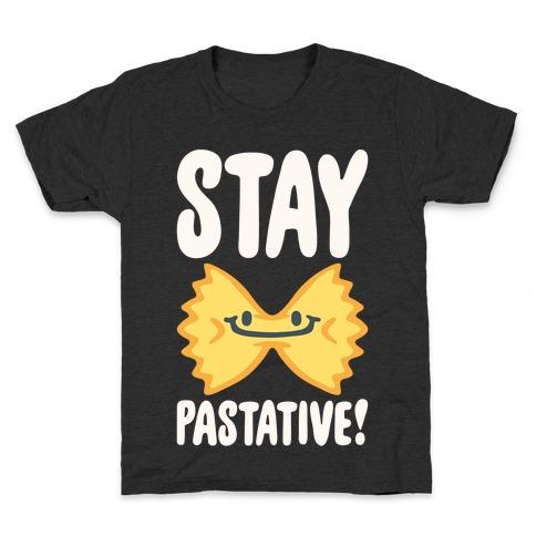 Stay Pastative White Print Kids T-Shirt