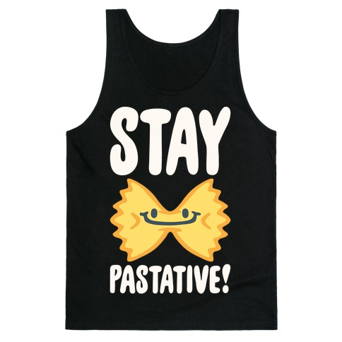 Stay Pastative White Print Tank Top