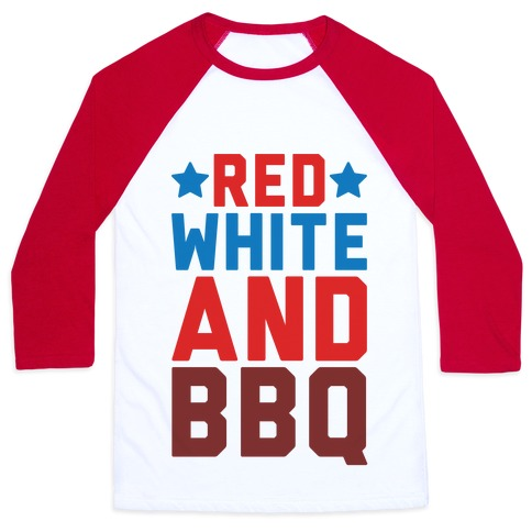Red White And BBQ Baseball Tee