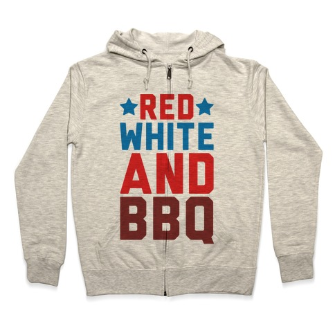 Red White And BBQ Zip Hoodie