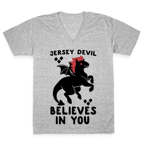 Jersey Devil Believes In You V-Neck Tee Shirt