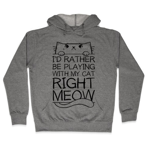 I'd Rather Be Playing With My Cat Right Now Hooded Sweatshirt