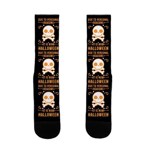 Due To Personal Reasons It Is Now Halloween Skull (Orange) Sock