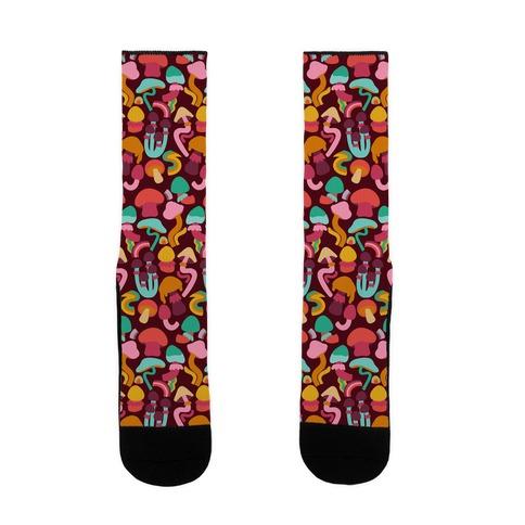 Retro Groovy Mushroom Pattern Sock