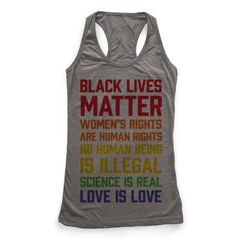 Black Lives Matter List Racerback Tank Top