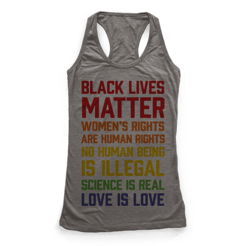 Black Lives Matter List Racerback Tank Top