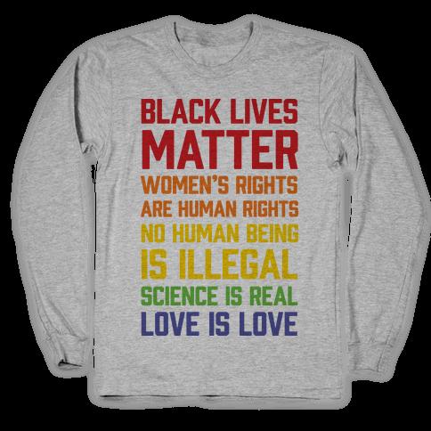 Black Lives Matter List Long Sleeve T-Shirt