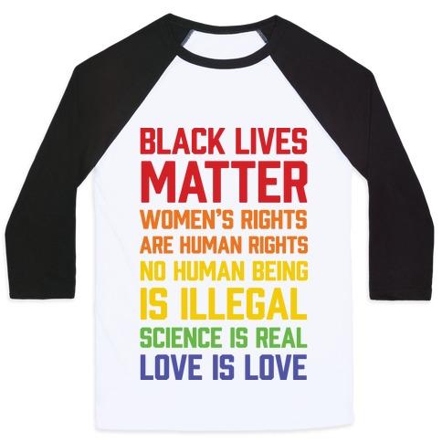 Black Lives Matter List Baseball Tee