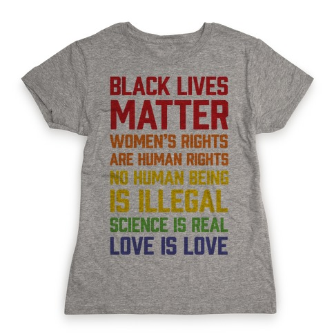 Black Lives Matter List Womens T-Shirt