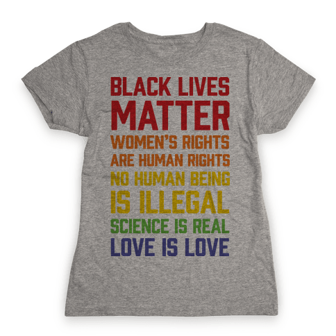 Black Lives Matter List Womens T-Shirt