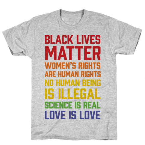 Black Lives Matter List Mens/Unisex T-Shirt