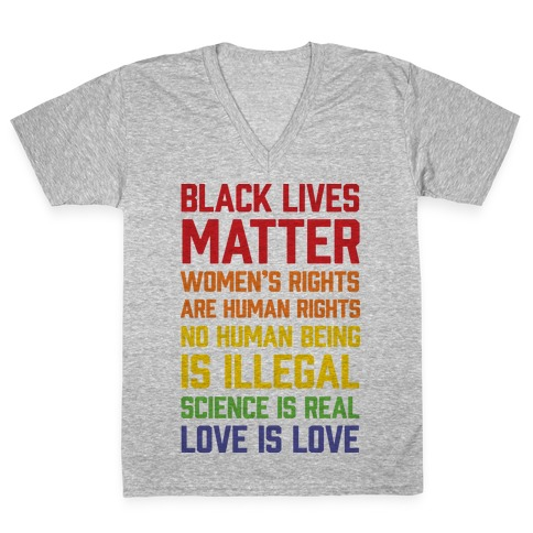 Black Lives Matter List V-Neck Tee Shirt