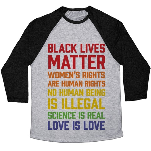 Black Lives Matter List Baseball Tee